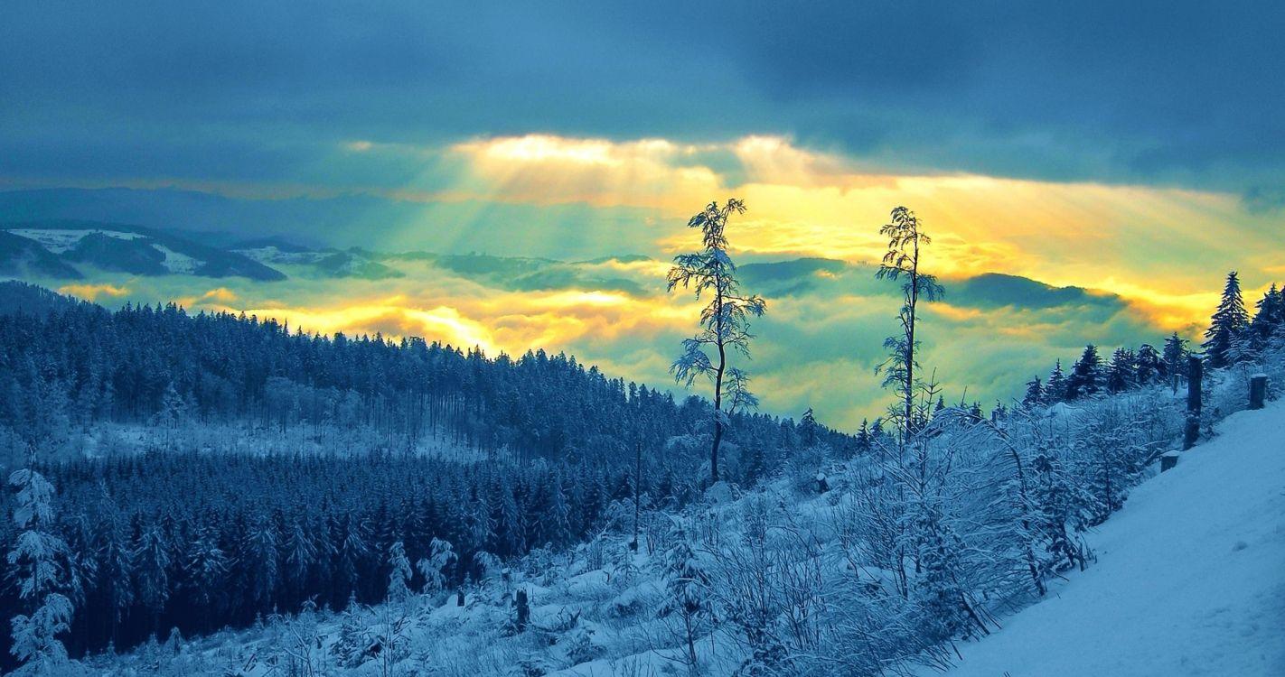 Обои зима, снег, облако, дикая местность, гора в разрешении 4096x2160