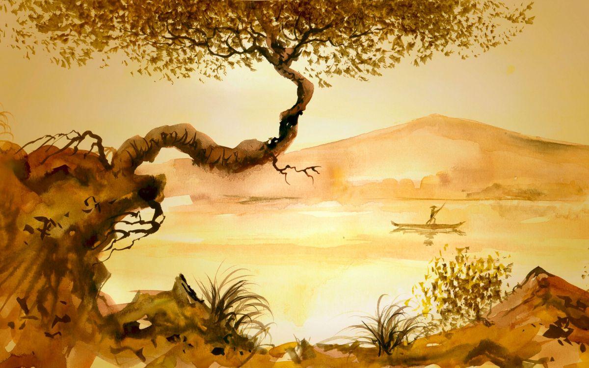 Обои живопись, акварельные краски, дерево, Саванна, пейзаж в разрешении 2560x1600
