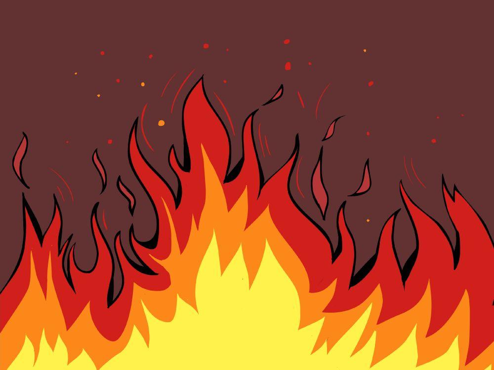 Картинки рисованный огонь