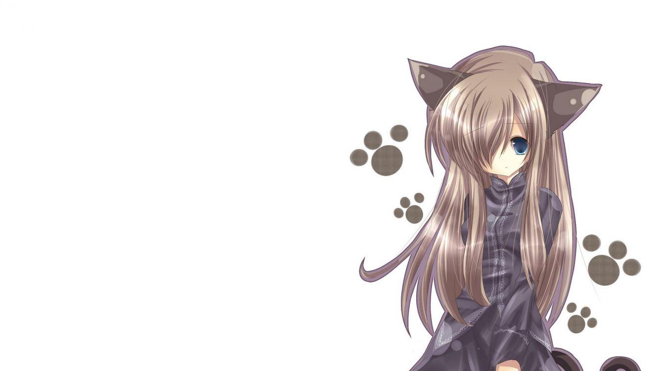 Обои Девушка кошка, аниме, Кавайная, длинные волосы, ухо ...