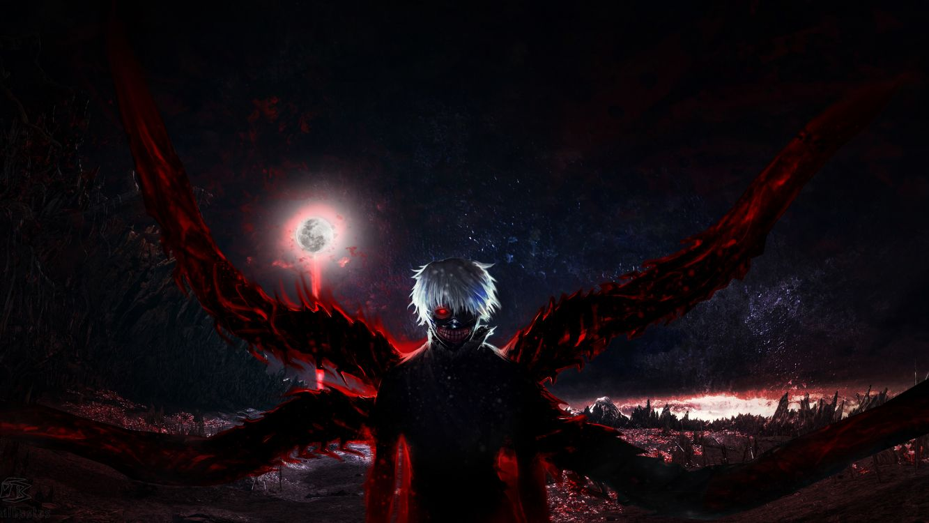 Обои демон, красный цвет, вымышленный персонаж, Токио вурдалак, аниме в разрешении 3840x2160