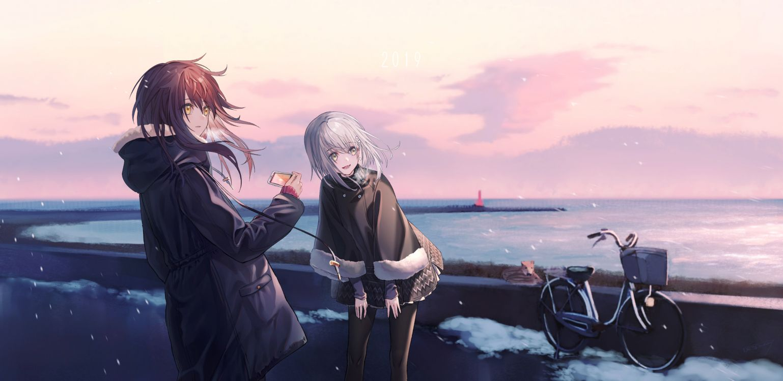 Обои аниме, длинные волосы, жест, иллюстрация, роман в разрешении 3376x1646