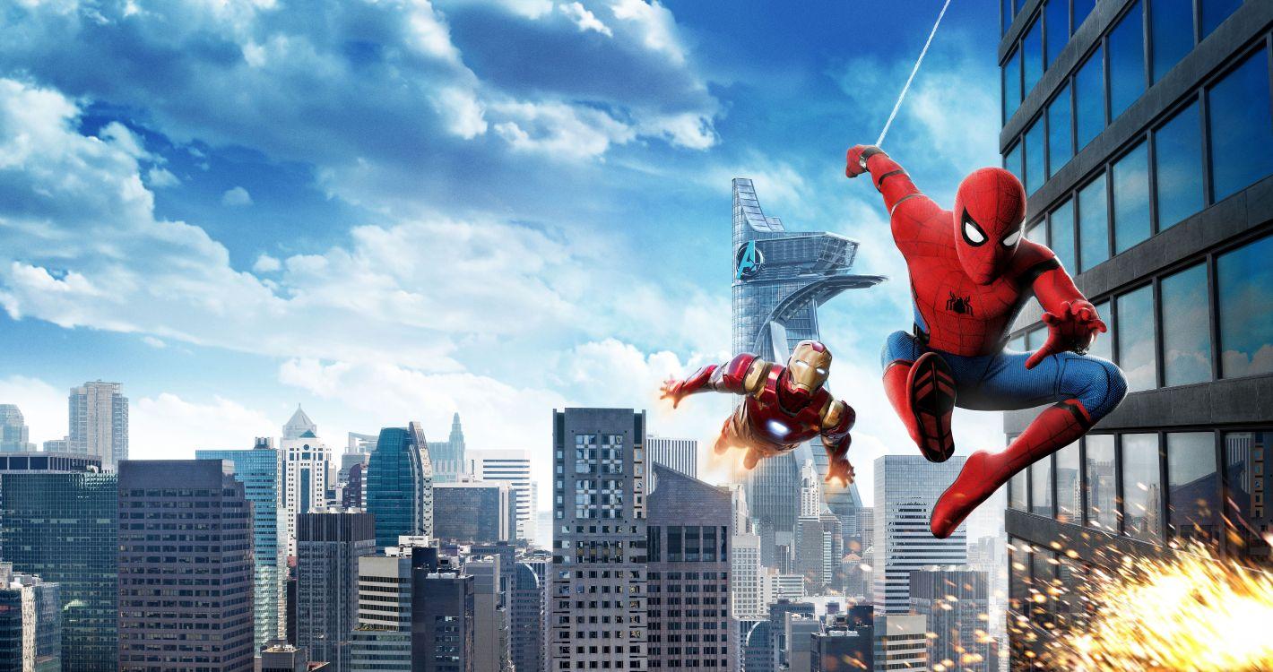 Обои Железный человек, город, Человек-паук Возвращение домой, метрополия, досуг в разрешении 9473x5000