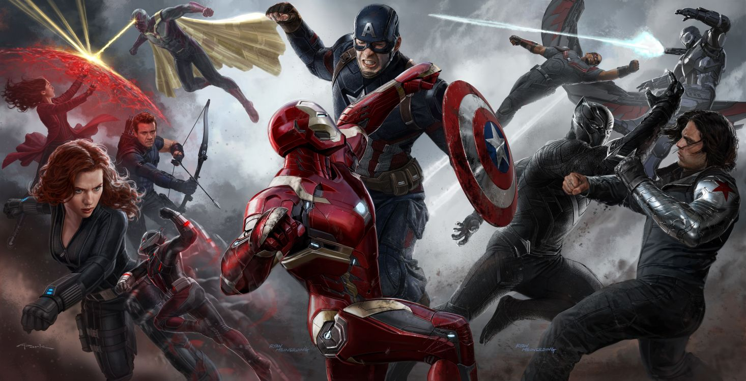 Обои Капитан Америка Гражданская Война, Студия Marvel, фигурка, компьютерная игра, искусство в разрешении 11762x6017