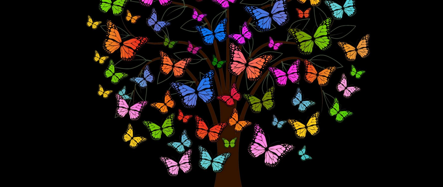 Обои рубашка, искусство, цветок, бабочкамонарх, насекомое в разрешении 2560x1080