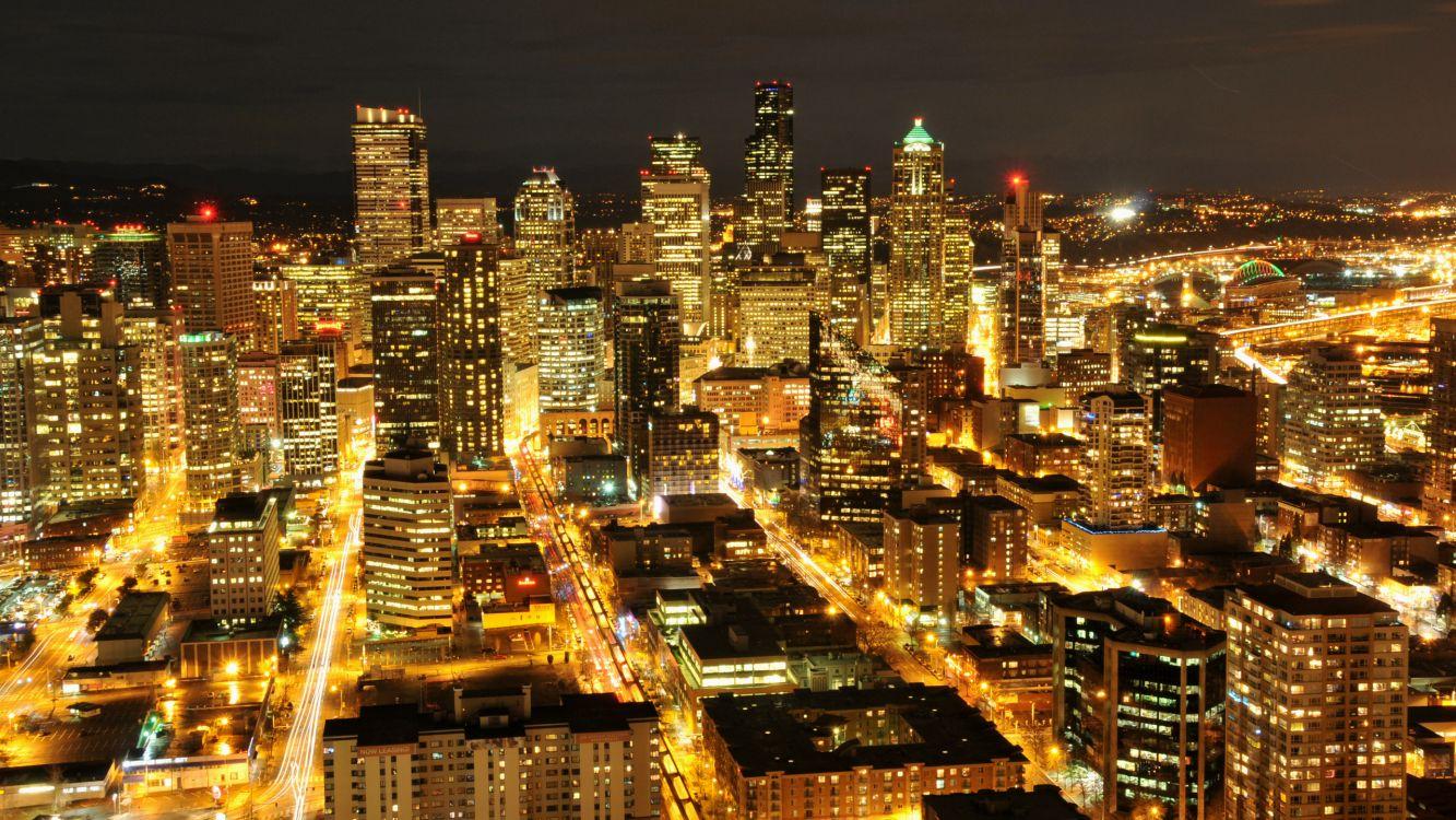 Обои городской район, столица, ночь, город, Сиэтл в разрешении 2560x1440